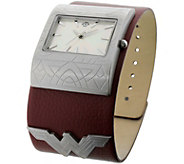 Womens Wonder Woman Burgundy Leather Cuff Watch - J379018
