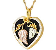 Black Hills Onyx Heart Drop Pendant w/ Chain 10K/12K - J379418