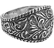 American West Sterling Diamond-Cut Scroll Ring - J380318