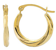 Polished Ribbed Petite Hoops, 14K Gold - J380918