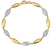 14K Two-Tone Oval Link Bracelet, 4.7g - J382018