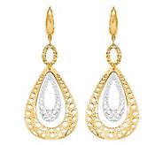 Italian Gold Two-Tone Teardrop Lever Back Earrings 14K, 3.8g - J382218