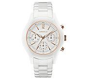 Caravelle Womens Chronograph White Ceramic Bracelet Watch - J383318