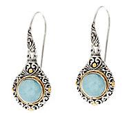 Artisan Crafted Sterling Silver & 18K Gold Gemstone Dangle Earrings - J60018