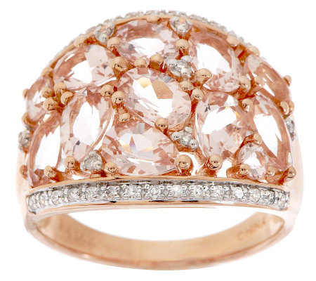 3.00 ct tw Morganite & 1/7ct tw Diamond Domed Ring, 14K
