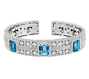 Judith Ripka 10.50cttw Swiss Blue Topaz & Diamonique Hinged Cuff - J288919
