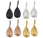 Joan Rivers Set/4 Faceted Textured Lever Back Earrings - J290619