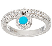 Judith Ripka Sterling Turquoise Bead & Diamonique Charm Ring - J295619