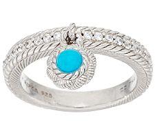 Judith Ripka Sterling Turquoise Bead & Diamonique Charm Ring