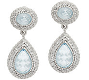 Judith Ripka Sterling & Diamonique Frosted Blue Topaz Earrings - J296619