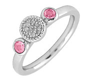 Simply Stacks Sterling Double Pink Tourmaline and Diamond Ring - J299319