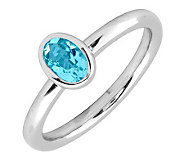 Simply Stacks Sterling & Oval Blue Topaz Ring - J299419