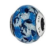 Prerogatives Blue Rose Glitter Italian Murano Glass Bead - J300219