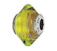 Prerogatives Green and Purple Italian Murano Glass Bead - J300319