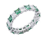 Diamonique & Simulated Emerald Band Ring, Platinum Clad - J302419