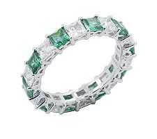 Epiphany Diamonique & Created Emerald 2.30 cttwBand Ring