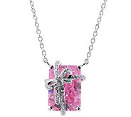 Diamonique 8.20 cttw Present Pendant Necklace, Platinum Clad - J303319