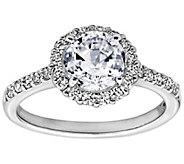 Diamonique 1.75 cttw 100 Facet Halo Ring, Platinum Clad - J304019