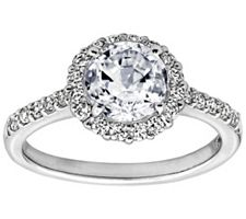 Epiphany Diamonique 1.75 ct tw 100-FacetHalo Ring