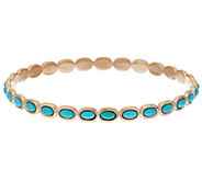Bronze Turquoise Polished Round Bangle by Bronzo Italia - J319219