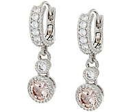Judith Ripka Sterling_1.20 cttw Gemstone Semi Hoop Drop Earrings - J321819