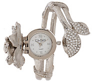 Joan Rivers Pave Gardenia Hinged Bangle Watch - J322619