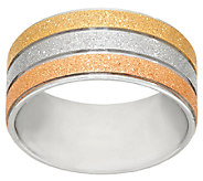 Stainless Steel Tri-Color Glitter Textured Ring - J323819