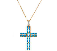 Neon Blue Apatite Cross Enhancer on 18 Chain, 14K Gold 1.30 cttw - J324419