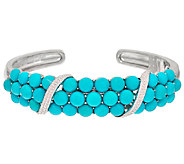 Sleeping Beauty Turquoise Bold Cluster Sterling Silver Hinged Cuff - J324619