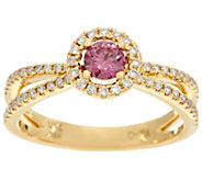 Fancy Pink and White Diamond Halo Ring, 14K, 1/2 cttw, by Affinity - J329319