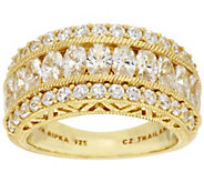 As Is Judith Ripka Sterling & 14K Clad 118 Facet 3.30ct tw Diamonique Ring - J334119