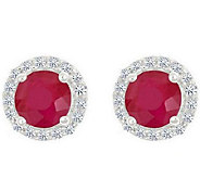 Premier Round 1.00cttw Ruby & Diamond Halo StudEarrings, 14K - J336719