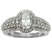 Judith Ripka Sterling 2.30cttw Oval DiamoniqueHalo Ring - J336819