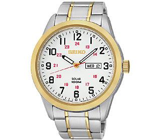 Seiko Men's Two Tone White Dial Bracelet Watch