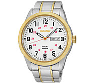 Seiko Mens Two-Tone White Dial Bracelet Watch - J337519