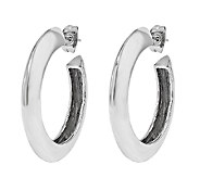 Stainless Steel Polished Knife-Edged Hoop Earrings - J337819