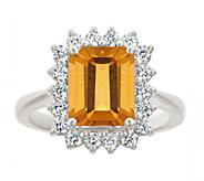 Premier 2.30cttw Emerald-Cut Citrine Diamond Ring, 14K - J337919