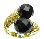 Judith Ripka Sterling and 14K Clad Black Onyx Bypass Ring - J338019