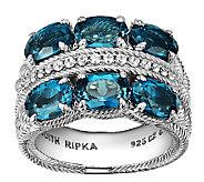 Judith Ripka Sterling  Diamonique & London BlueTopaz Ring - J340019