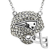 NFL Sterling Silver Crystal Football Helmet Pendant w/Chain - J340819