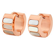 Stainless Steel Mother-of-Pearl Huggie Earrings - J342819