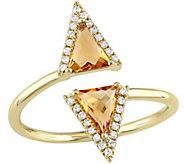 0.70 cttw Triangle Cut Citrine & Diamond AccentRing, 14K - J343919