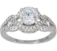 Diamonique 1.55 cttw Intricate Bridal Ring, Platinum Clad - J347119