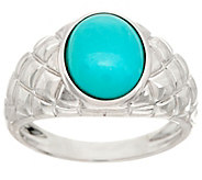 Oval Sleeping Beauty Turquoise Sterling Band Ring - J347619