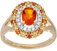 Fire Opal & Sapphire Diamond Ring, 14K Gold, 1.00 ct - J349419