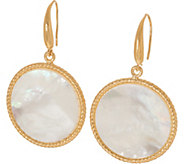 As Is Honora White Mother-of -Pearl Round Drop Earrings, Sterling - J352419