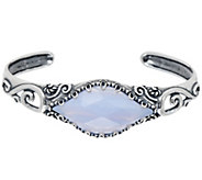 Carolyn Pollack Sterling Silver Faceted Blue Lace Agate Cuff Bracelet - J353119