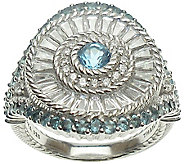 Judith Ripka Sterling Blue Topaz & Diamonique Ring - J375619