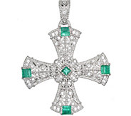 Judith Ripka Sterling Emerald Cross Enhancer - J376519