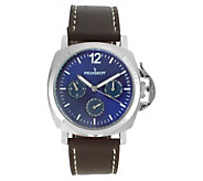 Peugeot Mens Multi-Function Leather Strap Watch - J383919
